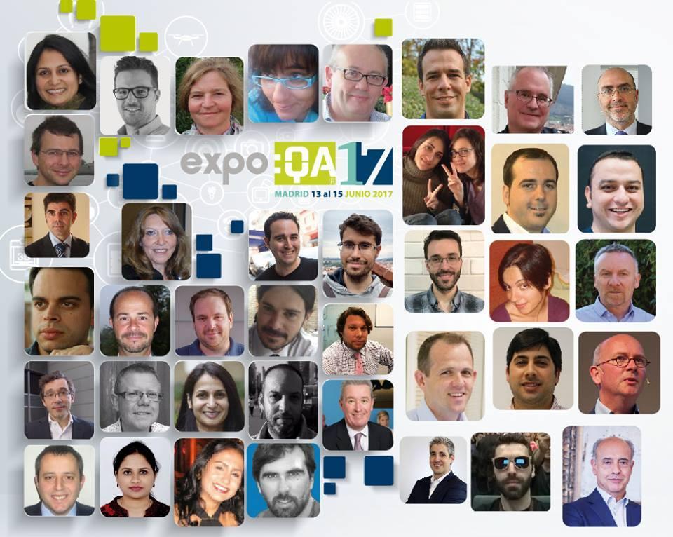 Arte do expo:QA com um mosaico formado com as fotos dos palestrantes do evento.