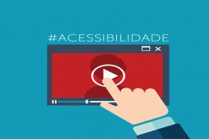 Desenho de uma mão tocando o botão play na tela de um vídeo, com uma hashtag em cima escrito