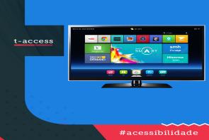 Imagem de uma smart tv (Televisão Digital com acesso a internet) na tela de navegação para escolha dos conteúdos como netflix, youtube, internet, etc.
