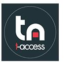 Logomarca da t-access. Círculo cinza com as letras brancas t e a em evidência, simbolizando as áreas principais da empresa, que são teste e acessibilidade de software. Abaixo das letras, é exibido o nome t-access, em tons de rosa e branco.